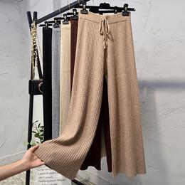 Argentina Las mujeres de punto pantalones de pierna ancha de invierno otoño caqui gris sólido a rayas alta cintura coreana elegante suelto oficina tobillo pantalones rectos damas Suministro