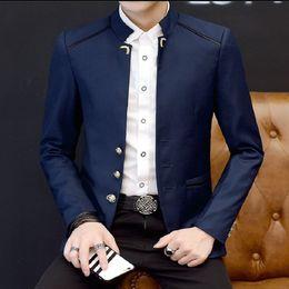 2019 blazer con colletto New Fashion Man Casual Blazer Stand Colletto Full Sleeve Marry Blazer Uomo Giacca ufficio formale Slim Suit Primavera Autunno blazer con colletto economici