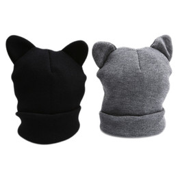 cappello di lana dell'orecchio del gatto nero Sconti Orecchie gatto di modo maglia di lana di cappello per le donne del cappello della protezione Grigio Nero divertente bello caldo di inverno Beanie