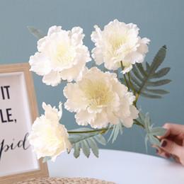 Peonies fiore rosso online-6 teste neve peonia mazzo fiori artificiali peonie bouquet fiori di seta rosso rosa falso fiore capodanno decorazione della casa