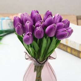 Lale Çiçek 10 adet / grup Pu Mini Lale Çiçek Gerçek Dokunmatik Buket Ev Partisi Düğün için Yapay İpek Çiçekler Dekorasyon supplier mini tulip flower nereden mini lale çiçeği tedarikçiler