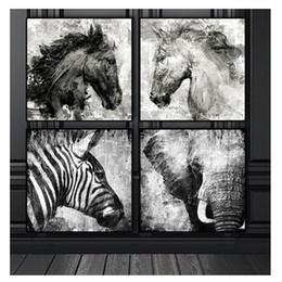 2019 pferd malerei schwarz weiß Schwarzweiss-Elefant-Pferdezebra, volles Quadrat / runder Diamant, der Diamantbild 5D Diy von den Rhinestones malt, der Satz 4pcs malt günstig pferd malerei schwarz weiß