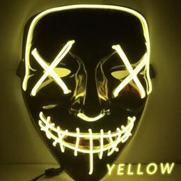 festival lichter kostüm Rabatt Angeführt Mascara Partei Die Purge Light Up Neon Schädel-Maske Partei-Festival-Kostüm Weihnachtsweihnachts neue Jahr-Geschenk Halloween-Maske Maske