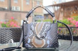 genuína python bolsas Desconto designer de luxo da bolsa L mulheres totes de alta qualidade genuína Python couro bolsas de grife pele bolsas