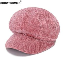 vendita all'ingrosso berretto rosa donne berretti newsboy berretti cotone caldo berretto ragazzo berretto signore autunno inverno solido casuali cappelli ottagonale rosso da