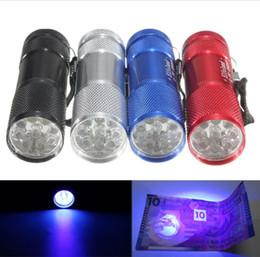 2019 blacklight taschenlampen Aluminium Mini tragbare UV Ultra Violet Blacklight 9 LED Taschenlampe Aluminium Mini tragbare UV Ultra Violet Blaorch Light DHL geben Verschiffen frei günstig blacklight taschenlampen