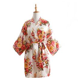 Camisones de mujer online-Señora impresa ropa de dormir de las mujeres de seda de imitación de satén camisón madre suelta ropa de dormir chica verano suelta hogar ropa mujeres albornoz RRA406