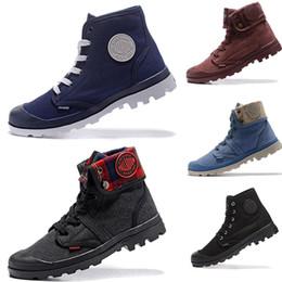 zapatos casuales para hombre Rebajas 2019 Moda para hombre Lienzo zapatos casuales Palladium High-top Army Military Botines Al aire libre antideslizante Utilidad botas Botas Zapatos para correr