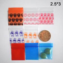 Sacchetti di stoccaggio di gioielli online-2.5x3cm Mini Zip Lock Bags Smell Proof Water Proof Small Baggies per Gioielli Plastic Storage Bag richiudibile con Pattern