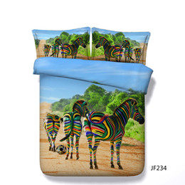 Mädchen bettwäsche setzt voll rosa online-Zebra Bettwäsche voller Rosa 3pcs Bettbezug und Kissen Shams Set für Kinder Mädchen Jungen Cartoon Zebra Schmetterling Aquarell Muster Tröster