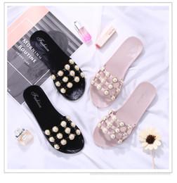 Sandalias y flip flops online-Sandalias de gelatina recortadas Verano Zapatillas de caramelo Zapatos de mujer Pisos Flipflops para mujer Zapatos de mujer Zapatillas de deslizamiento en Pearl Beach
