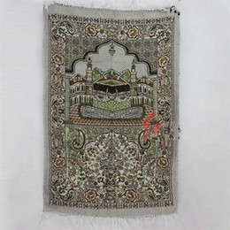 Alfombras musulmanas online-110 * 70 cm islámica musulmana Alfombras de oración Rectange Suave Tapete de adoración Tapete Impreso alfombras de rogación textiles para el hogar 5yx E1