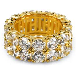 goldkette entwirft mans Rabatt Neues Design Gold Silber Farbe Überzogener Ring Mikro Gepflastert 2 Row Kette Große Zirkon Glänzend Hip Hop Finger Ring für Männer Frauen