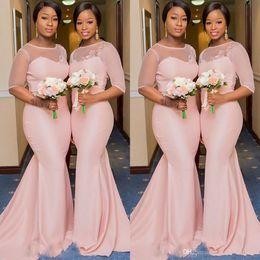 Vestido de novia elegante vestido de fiesta vestido de fiesta online-Sudafricana media manga de tul rosa dama de honor vestidos largos 2019 ilusión primicia boda vestidos de invitados apliques elegantes vestidos de baile