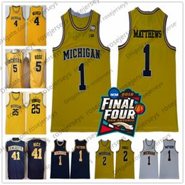 2018 NCAA Final Four # 1 Poole 1 Charles Matthews Maillot Wolverines du Michigan Webber Rose Howard Rice Chris Jalen Dwight Glen Jaune Vintage ? partir de fabricateur
