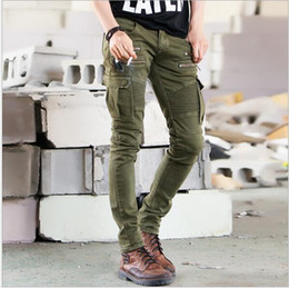 Green cargo тощие брюки мужчины онлайн-Wholesale New Men Fashion Runway Black Army Green Cargo Waxed Biker elastic pencil pants washed Jean Skinny Khaki Mens jeans