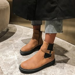botas de hebilla de cremallera Rebajas Botas Zapatos de mujer Cinturón de mujer Botines con cremallera lateral de tacón alto Plataforma de hebilla para mujer Zapatos Martin bota feminina 2019