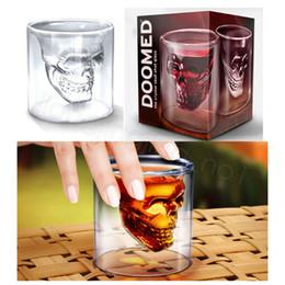 2019 whisky de cabeça de cristal Projeto do vidro de vinho cabeça 75ML Crânio criativa dupla parede transparente de alta vidro borosilicato Cup resistente ao calor Tumbler Bar decoração copo FFA3553