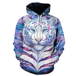 2019 weiße tiger-druckjacke Mens weiß Designer Hoodie Sweatshirt Sweat Coat Pullover Jacken neue grenzüberschreitende E-Commerce-Versorgung Tiger 3D Digitaldruck Hoodies günstig weiße tiger-druckjacke