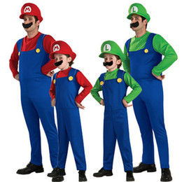 mario brothers costumes d'halloween  Promotion Enfants adultes Halloween Costumes Cosplay Super Mario Brothers Luigi Fancy Dress Up Party mignon Plumber costume pour les enfants adultes S-L