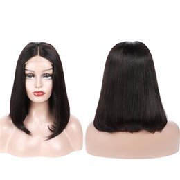 cut parting wig Promo Codes - Lace Front Straight Bob Wigs Middle Part Human Hair Pre Plucked Glueless 4x4 Lace Wig Brazilian Virgin Hair Bleached Knots Bob Cut Cosplay
