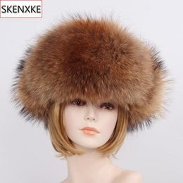real fox hats Promo Codes - New Unisex Luxury Winter Russian Real Fox Fur Hat Warm Soft Quality 100% Real Raccoon Fur Bombers Cap Real Sheepskin Leather Hat