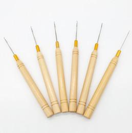 Оптовая деревянная ручка вытягивая иглу крюк иглы для микро-кольца петля I-наконечник наращивание волос от Поставщики я наконечник оптовых наращивание волос