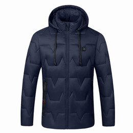 Abrigo largo térmico online-Invierno 2019 USB eléctrico con capucha de la chaqueta climatizada al aire libre de los hombres de manga larga de esquí con calefacción térmica Escudo chaleco de las mujeres abajo Softshell