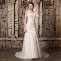 layered tulle wedding dress beach Promo Codes - Wedding Dresses Jewel Tulle Satin Train Appliques Beads Sleeveless Mermaid Wedding Gowns Layered Arabic Bridal Dress 3902