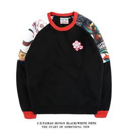 Весной Harajuku Style Tide Марка мужской пуловер Ukiyo-e Printing Добавить бархатные толстовки мужские толстовки с длинным рукавом от