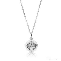 catene di diamanti mens Sconti Classica Argento Firma pendente della collana della scatola originale per Pandora diamante Disco CZ 925 Sterling Silver Jewelry catena Collane Donne Mens