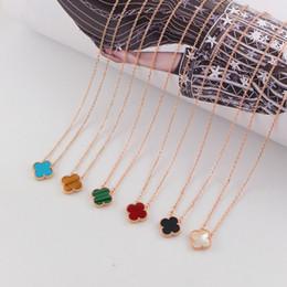 2019 schwarze koralle halskette Vier-Blatt-Klee-Halskette für Damen Empfindliche Frauen Halskette Marke Halskette für Fashion Party 18K Rose Gold Claviclekette