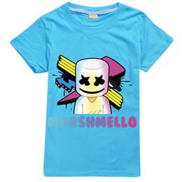 Mascarilla de algodón para niños online-Venta caliente Camiseta con Logo Algodón DJ Marshmello Máscara Música Tops Niños Camiseta de manga corta Hombres Verano y deporte de alta calidad 3D Short