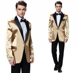 Мужские дешевые черные формальные костюмы онлайн-Новый 2020 Две пьесы Золото мужские свадебные костюмы One Button Black отворотом Groom Tuxedos Best Man Tux Дешевые Формальные Бизнес Blazer (куртка + брюки)