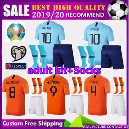 Футбол нидерланды футбол джерси прочь онлайн-Кубок Европы 2019 Нидерланды взрослые футбольные майки комплекты 19 20 home away DE JONG Men jerseys 2020 V. PERSIE VIRGIL Football Kit рубашки