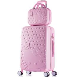 ragazze ciao gattino Sconti 14 20 22 24 26 28 pollici abs + pc hardside case ciao kitty rosa bagagli da viaggio per ragazza, bella moda trolley set da viaggio per le donne