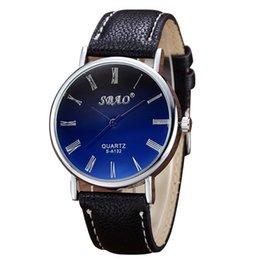 2019 relojes de hombre con dial simple Moda reloj para hombre Blue Ray Glass Número romano Dial Negro Puntero Reloj de pulsera de cuarzo simple Reloj de hombre zegarki meskie saat rebajas relojes de hombre con dial simple