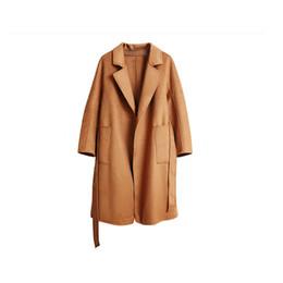 Tops tejido a mano online-Top grado 100% hecho a mano doble lana pura cuello adaptado punto mujeres vintage agua ondulación cardigan largo suéter color sólido S-XL