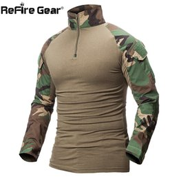 équipement de tennis Promotion ReFire Gear Camouflage Tactique Militaire T Shirt Hommes Multicam US Army Combat Shirt Assaut Camo Militar Uniforme Airsoft T Shirt C18122701
