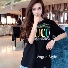Pantalones cortos de leopardo de las mujeres online-2019 primavera verano Ropa de diseñador Camiseta de lujo para mujer Camiseta de manga corta con estampado de leopardo de lentejuelas de colores de Italia