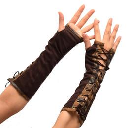 Guanto sottile online-accessori cosplay guanti da donna Steampunk epoca vittoriana Lolita Tie-up Marrone Muffole Slim Armbands Cosplay Accessori