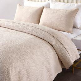 baumwollgestickte tagesdecken Rabatt Qualität solide Tagesdecke Quilt Set 3 Stück gestickte gesteppte Bettwäsche Queen Size Quilts Cover Baumwolle Bettdecken