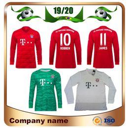 Argentina 19/20 Camiseta de fútbol de local de manga larga del Bayern Munich 2019 Camiseta de fútbol de ROBBEN JAMES MULLER VIDAL LEWANDOWSKI Portero NEUER Uniforme de fútbol cheap neuer goalkeeper jersey Suministro