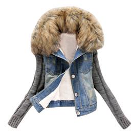 Вязаная куртка джинсовая куртка онлайн-SAGACE 2019 женской зимней Теплой Джинсовой Повседневный Кнопка Моды Knit Sleeve Denim карман куртка Женщина пальто и куртка зима