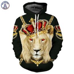 Rey león sudadera con capucha online-Hip Hop Lion King Hoodies Hombres Mujeres Sudaderas Unisex Impresión 3D Bloques coloridos Skull Hooded Hoodies Hip Hop Hoodies