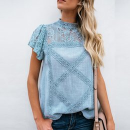 4d2039400fc7 Kenancy Women Fashion Lace T-Shirts Summer Short Sleeve Roll Up Sleeve  Button Down T-Shirt Female Casual Tops Women S Tees New