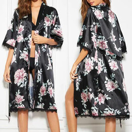 c6df817503 satin night gowns robes Australia - Sexy Satin Lingerie Women Bathrobe  Pijama Printed Lace Nightgown Lingerie