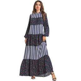 Vestidos di stampa etnica online-Ruffle Lace Up Girocollo Swing Patchwork a righe Maxi Dress Stampa Floreale Retro Ethnic Robe Femme Donna Plus Size Vestidos 2019 Spring 4XL