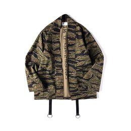 chinese hip hop fashion Coupons - Japanese Camo Kimono Jackets chinese Style Mens Hip Hop Camouflage Casual Open Stitch Coats Fashion Streetwear Jacket XL