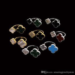 palabra amor suena Rebajas 2018 Material de latón superior anillo de diseño de parís 1.0 cm flor + 1.4 cm piedra natural y concha decorar anillo de tamaño libre para mujeres y amiga joya